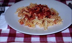 Fusilli with Tomato and Meat Sauce
